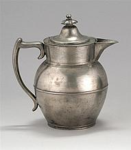 ANTIQUE AMERICAN PEWTER LIDDED CIDER JUG BY GEORGE RICHARDSON Jacob's mark #237. Height 9.25