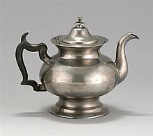 ANTIQUE AMERICAN PEWTER TEAPOT BY GEORGE RICHARDSON In squat form. Jacob's mark #237. Height 7.5
