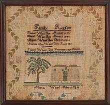 FRAMED ANTIQUE AMERICAN NEEDLEWORK FAMILY RECORD Wrought by