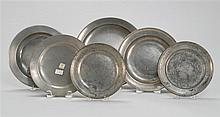 SIX ANTIQUE AMERICAN PEWTER PLATES One by Thomas Danforth with Jacobs mark #113, one by Gershom Jones with Jacobs mark #179, one by...