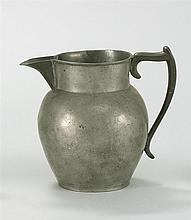ANTIQUE AMERICAN PEWTER PITCHER BY GEORGE RICHARDSON With straight line mark. Height 7.75