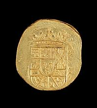 REPLICA OF A MEXICAN GOLD SHIPWRECK COIN Ovoid, 1.25