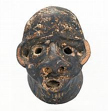 RARE CERAMIC DRAIN PIPE HEAD Probably South Carolina or Georgia origin. In the form of an African American's face. Well-detailed wit..