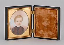 WONDERFUL MINIATURE PORTRAIT OF A CHILD Dressed in a red and green checked dress with white collar. Gutta-percha case. 2.75