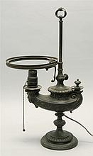 BRONZE ROMAN-STYLE ALADDIN STUDENT'S LAMP Drilled and electrified. Height 19.5