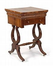 ANTIQUE AMERICAN FEDERAL ONE-DRAWER WORK TABLE In rosewood veneers. Double pedestal lyre-form base with scrolled-out legs. Height 30...