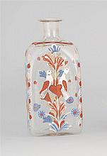 BLOWN CLEAR GLASS BOTTLE With polychrome painted decoration of doves, hearts and flowers. Height 6.5