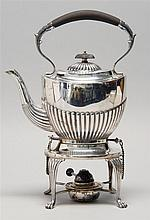 ENGLISH STERLING SILVER HOT WATER KETTLE ON STAND In Adams form with ebonized wood handle. Height 13.75