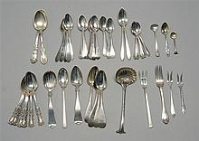 FORTY-SIX PIECES OF AMERICAN AND ENGLISH SILVER FLATWARE By various makers. Includes an English silver sauce ladle, six Gorham teasp...