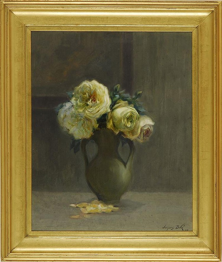 JACQUES BILLE, French, 1880-1943, Floral still life., Oil on board, 17¾