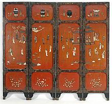 FOUR-PANEL PIETRA DURA-INLAID SCREEN With figural landscape on a rust-red ground. Reverse with gilt bird and flower design. Height 7...