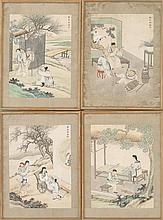 SET OF FOUR FRAMED ALBUM PAINTINGS Depicting scenes of filial piety. Each 13.75