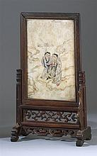 PAINTED MARBLE TABLE SCREEN Depicting two Immortals in clouds. Panel 8.5