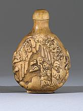CARVED WOOD SNUFF BOTTLE In pear shape with relief figural landscape design. Conforming stopper. Height 3