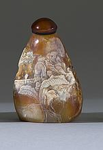 SHOUSHAN STONE SNUFF BOTTLE In mountain form with figural landscape carving. Height 2
