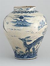 KOREAN BLUE AND WHITE PORCELAIN JAR With deer and pine tree landscape design. Height 15.5