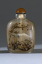 INTERIOR-PAINTED GLASS SNUFF BOTTLE In flattened ovoid form with sepia design of grasshoppers and rockery. Height 2.25