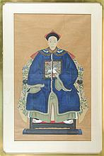 FRAMED ANCESTRAL PAINTING Depicting a seated mandarin in a blue winter robe with rank badge. 33.5