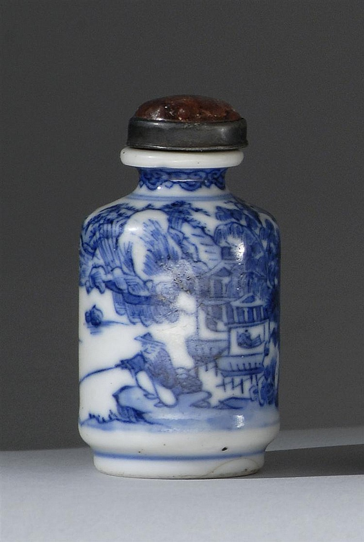 BLUE AND WHITE PORCELAIN SNUFF BOTTLE In cylinder form with riverside landscape design. Four-character Daoguang mark on base. Height...