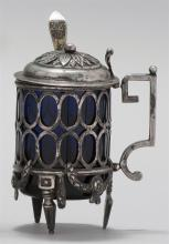NEOCLASSICAL .800 SILVER AND COBALT BLUE GLASS MUSTARD POT Together with a silver-gilt monogrammed mustard spoon marked