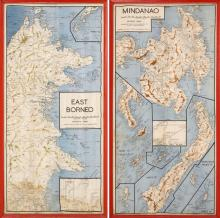 TWO FRAMED ROYAL AUSTRALIAN AIR FORCE MAPS Printed on silk. Depict Japanese positions in East Borneo and Mindanao. Dated August 1944...