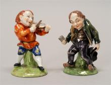 PAIR OF CAPO-DI-MONTE PORCELAIN DWARF FIGURES One with a fiddle and one with a wine cup. Heights 3.5