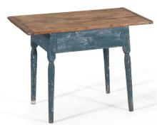 ANTIQUE AMERICAN TAVERN TABLE In pine. Scrubbed breadboard top. Base painted blue over red and milk paint. Turned legs reduced in he...