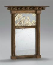 ANTIQUE AMERICAN DIMINUTIVE FEDERAL MIRROR Reverse-painted upper glass tablet with gilt decoration of two musicians. Period mirror g...