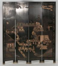 FOUR-PANEL CHINESE COROMANDEL-STYLE LACQUER SCREEN Front of panels depict a figural landscape. Back of panels carved with bamboo sho...