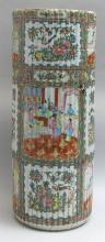 CHINESE EXPORT ROSE MEDALLION PORCELAIN UMBRELLA STAND In ribbed cylinder form. Height 24