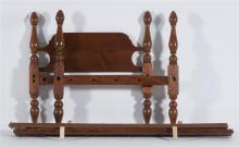 ANTIQUE AMERICAN EMPIRE TWIN BED In cherry with pine headboard. Complete with rails and bolts. Height 45