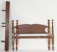 ANTIQUE AMERICAN DOUBLE BED In cherry with pine headboard. Turned posts with conical finials. Complete with side rails and bolts. He...