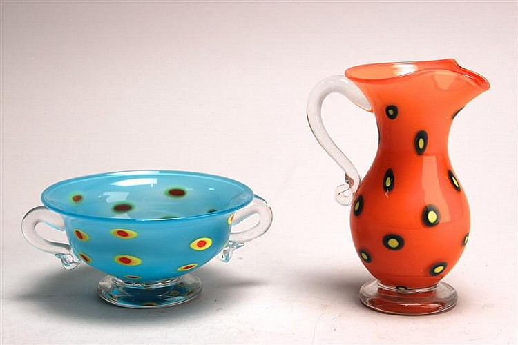 CONTEMPORARY PINKWATER ART GLASS SUGAR & CREAMER. Opaque blue sugar bowl with yellow and red dots. Opaque orange creamer with blue a...