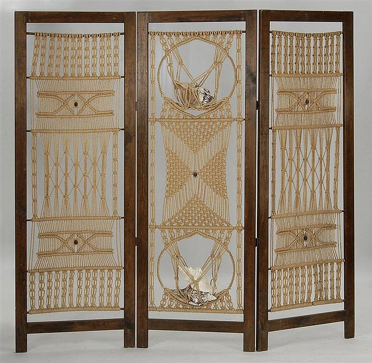 THREE-PANEL WOOD-FRAMED SCREEN with macramé panels. Central panel has netting for seashells. Height 72