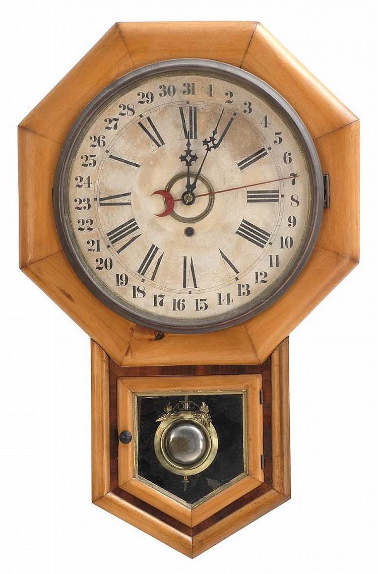 SETH THOMAS REGULATOR CALENDAR WALL CLOCK in pine. Height 26