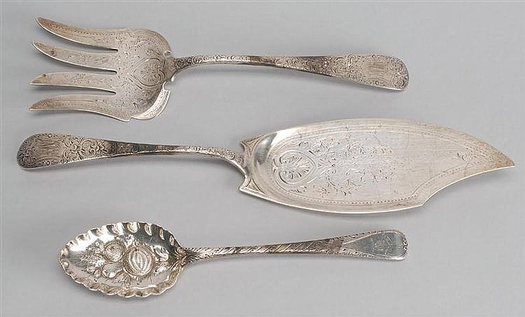 THREE STERLING SILVER SERVING ITEMS: a matching pie server & meat fork and an English berry spoon.Approx. 10.5 troy oz.