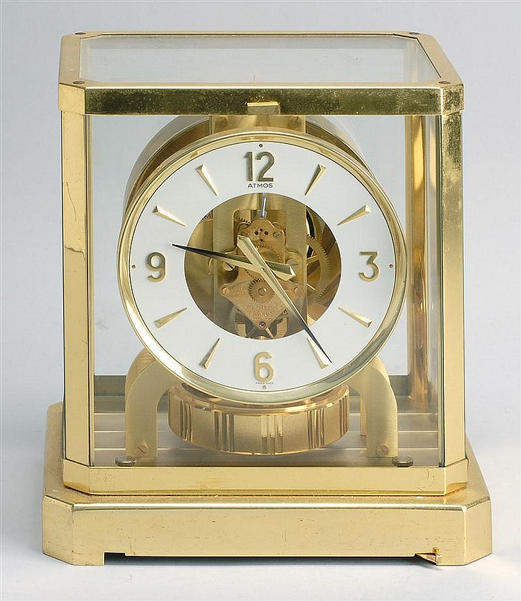 ATMOS CLOCK with brass and glass case. Height 9¼