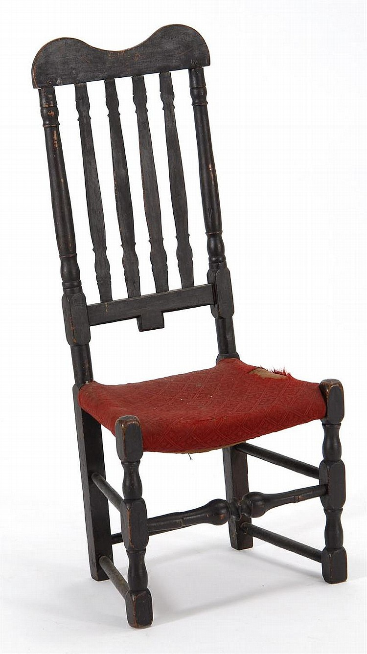 ANTIQUE AMERICAN BANISTER-BACK SIDE CHAIR (First Half of the 18th Century) in old brown finish. Victorian red upholstered seat.