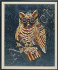 FRAMED PRINT: PETER HUNT (Cape Cod, 1898-1967). Depicting an owl. Human figures painted in the eyes are believed to be Don Quixote....
