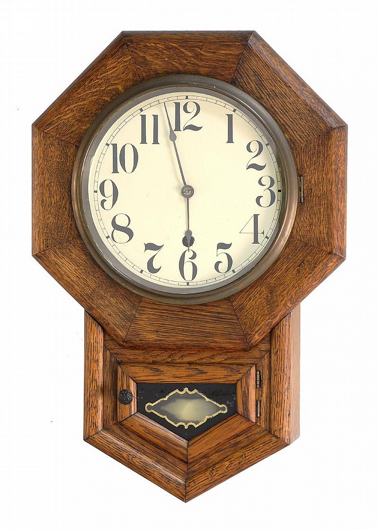 NEW HAVEN WALL REGULATOR CLOCK in oak case. Height 19