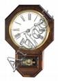 WATERBURY WALL REGULATOR CLOCK in mahogany veneer case. Height 23½