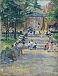 KATE RENO MILLER, American, 1870-1929, A busy park, possibly Cincinnati., Oil on canvas board, 9