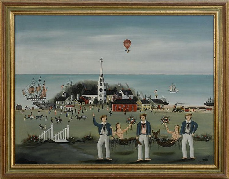 RALPH EUGENE CAHOON, JR., American, 1910-1982, A seaside port., Oil on masonite, 24