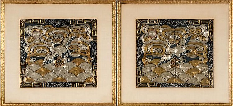 PAIR OF GOLD AND SILVER NEEDLEWORK MANDARIN RANK BADGES With silver pheasant design. 9
