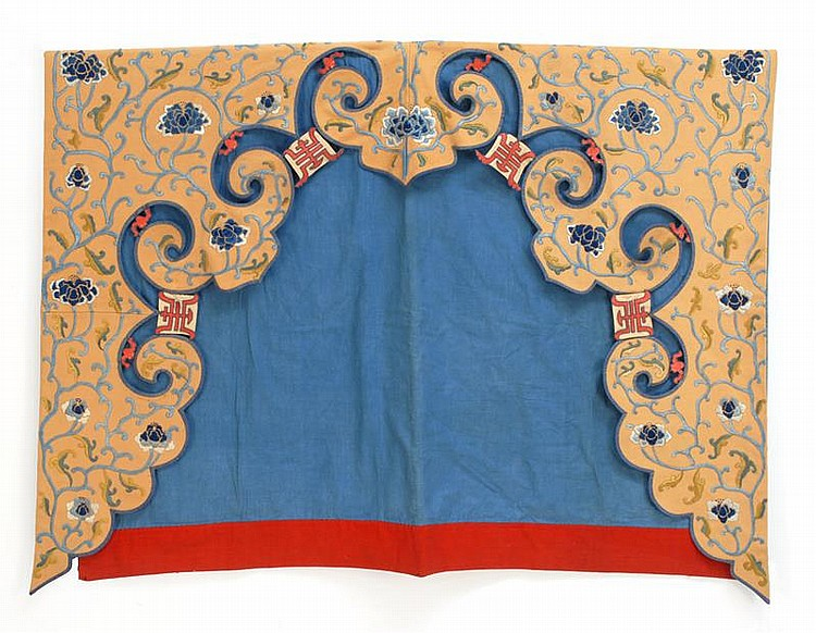 UNUSUAL NEEDLEWORK-ON-FELT DOOR PANEL With blue shaded floral design and red shou motifs all on a beige ground. Length 83