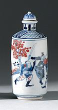 UNDERGLAZE RED AND BLUE PORCELAIN SNUFF BOTTLE In cylinder form with figural decoration. Underglaze blue mark on base. Height 3.5