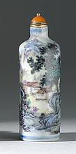 POLYCHROME PORCELAIN SNUFF BOTTLE In cylinder form with colorful landscape design. Two-character mark on base. Height 3.5