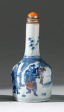 UNDERGLAZE RED AND BLUE PORCELAIN SNUFF BOTTLE In mallet form with figural landscape design. Four-character Qianlong mark on base. H...
