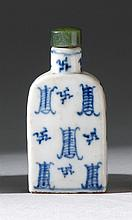 BLUE AND WHITE PORCELAIN SNUFF BOTTLE In shouldered rectangular form with stylized calligraphic design. Height 2.25