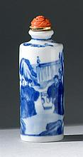 BLUE AND WHITE PORCELAIN SNUFF BOTTLE In cylinder form with decoration of scholars in a landscape. Four-character Guangxu mark on ba...